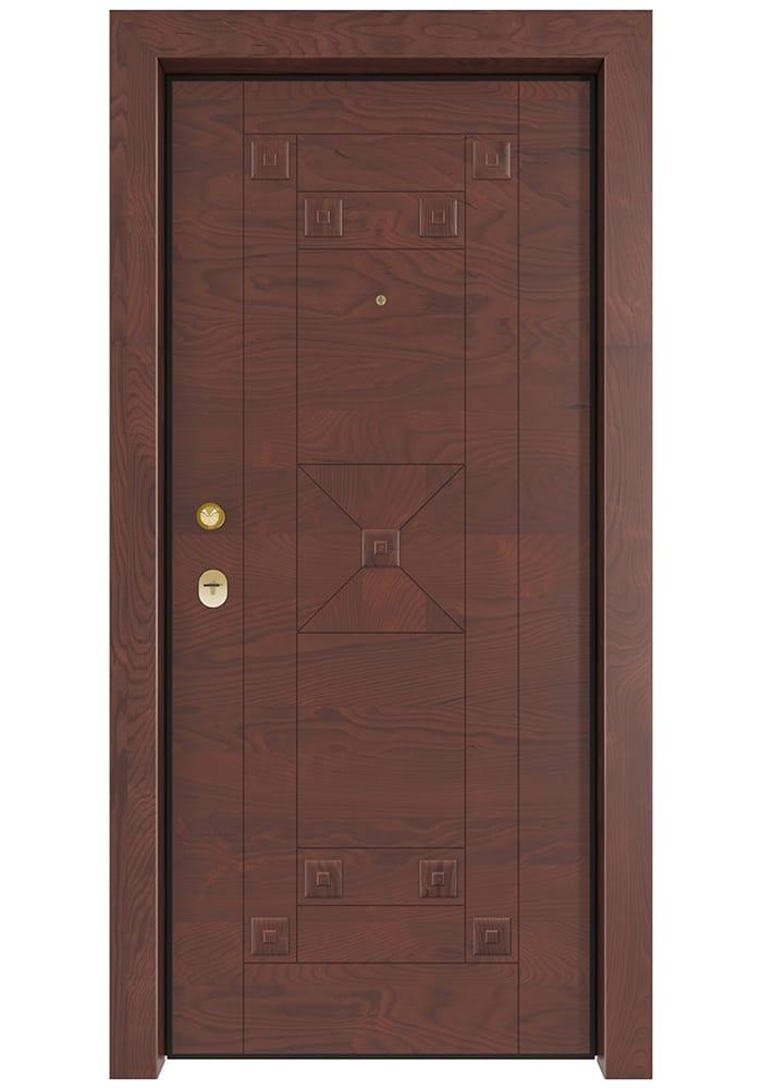 Εικόνα Θωρακισμένη Πόρτα Σημύδα εξωτερική με οικολογικό βερνίκι