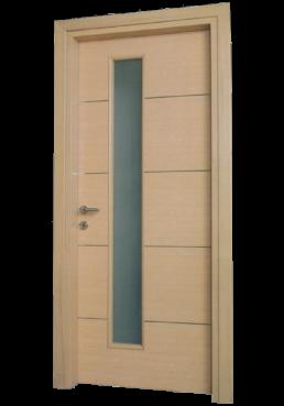Εικόνα Θωρακισμένη Πόρτα Δρυς τζαμωτή με inox