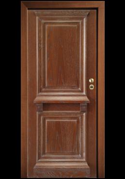 Εικόνα Θωρακισμένη Πόρτα Δρυς με πατίνα λευκή