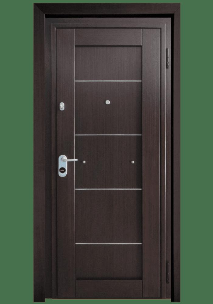Εικόνα Θωρακισμένη Πόρτα Δρυς τεχνητή με inox