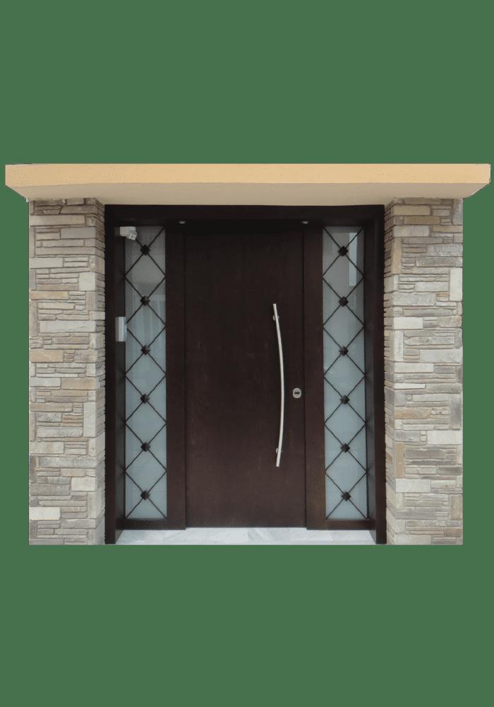 Εικόνα Θωρακισμένη Πόρτα εισόδου με 2 σταθερά και κάγκελο μασίφ