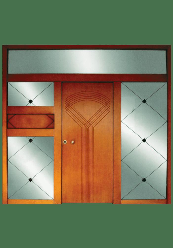 Εικόνα Θωρακισμένη Πόρτα εισόδου με 3 σταθερά και κάγκελο μασίφ