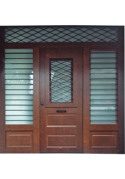 Εικόνα Θωρακισμένη Πόρτα εισόδου με πλακάζ θαλάσσης και κάγκελο μασίφ